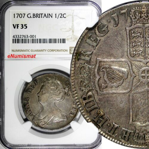 Great Britain Anne Silver 1707 1/2 Crown NGC VF35 SCARCE Light Toned KM# 525.1