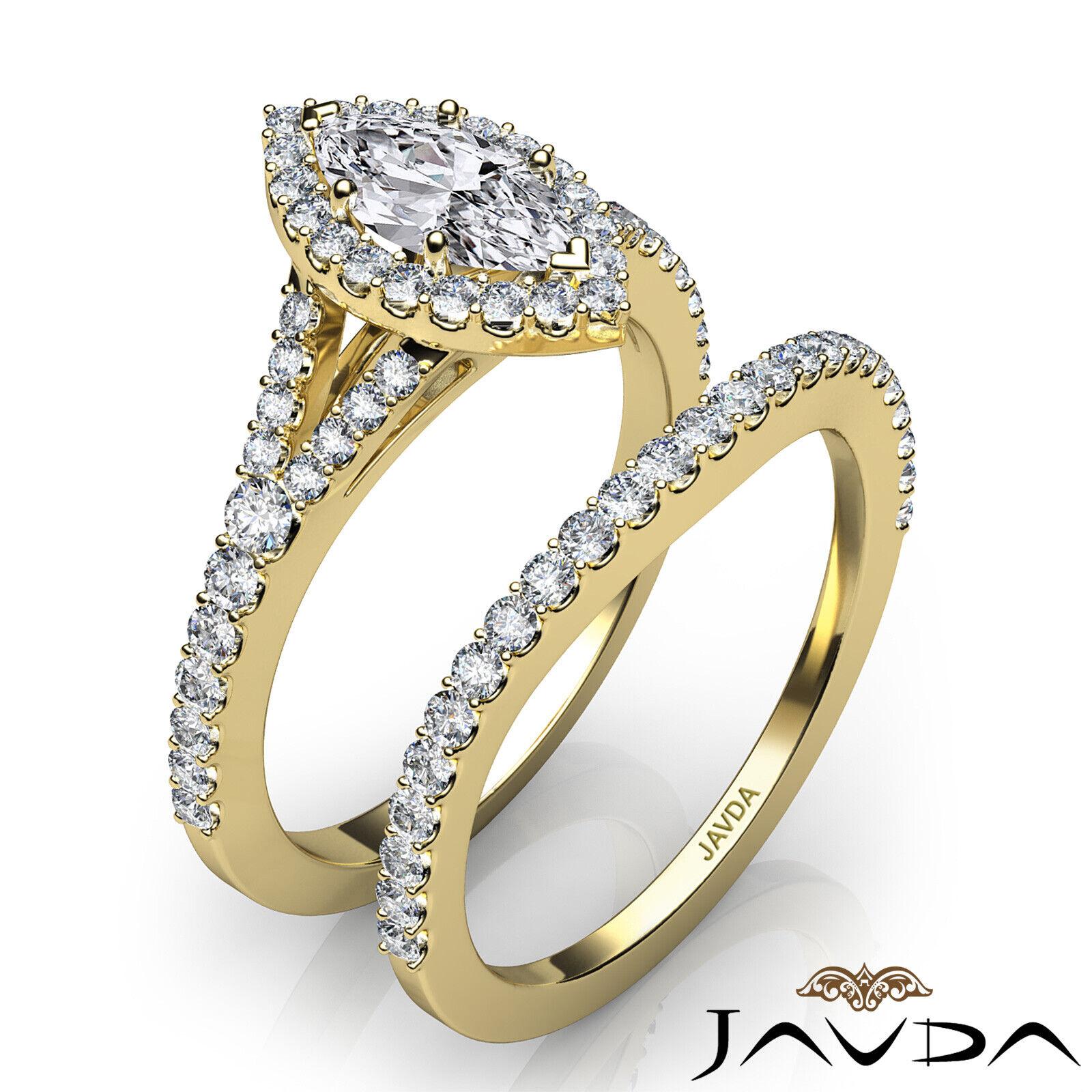 2.02ctw Halo Bridal Set Split Shank Marquise Diamond Engagement Ring GIA F-SI1 10