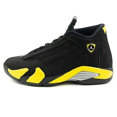 Nike Air Jordan Sneakers XIV 14 Retro Thunder 487471-070 Black Yellow Size (Air Jordan 14 Retro Sneakers)