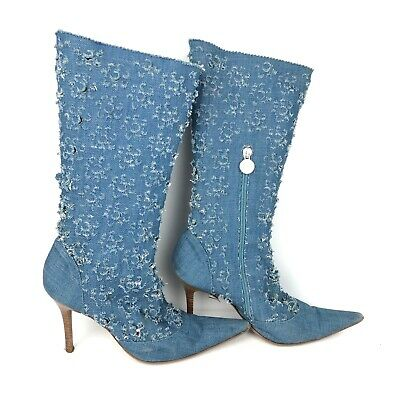 Versus Versace Denim Boots Calf High Boots Size EU 37 US 7