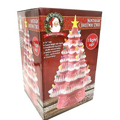"Mr. Christmas 16"" LED Retro Nostalgic Ceramic Pink Christmas Tree Light Up New"