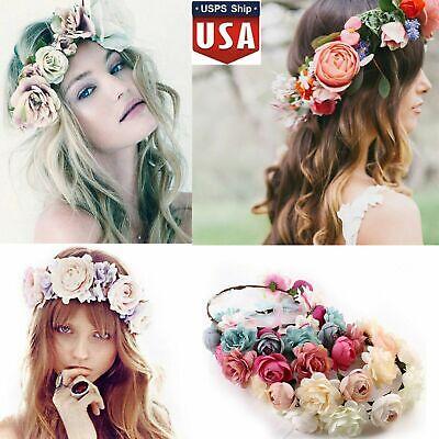Girl Crown Floral Rose Flower Headband Hairband Wedding Hair Garland Headpiece](Flower Headpiece)