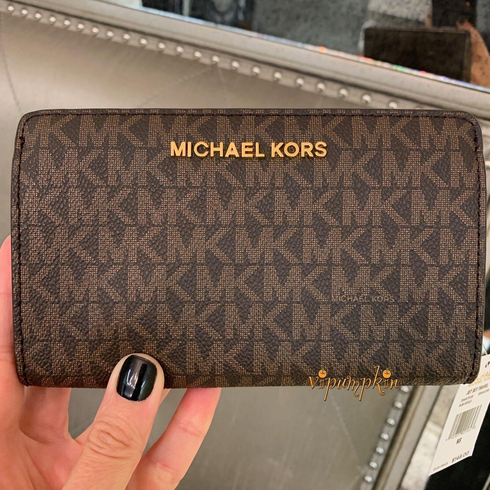 Michael Kors Jet Set Travel Slim Bifold MK Signature Wallet