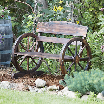 Wagon Wheel Wooden Outdoor Bench Seat Chair Loveseat Patio Garden Yard Furniture for sale  Fort Mill