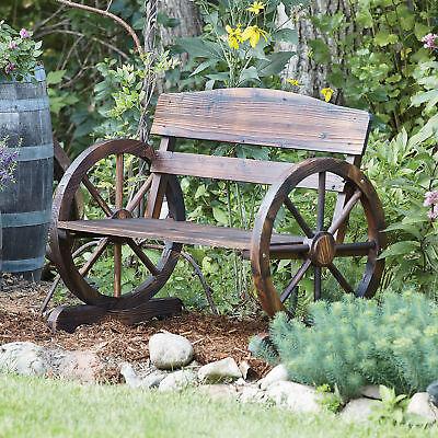Garden Furniture - Wagon Wheel Wooden Outdoor Bench Seat Chair Loveseat Patio Garden Yard Furniture