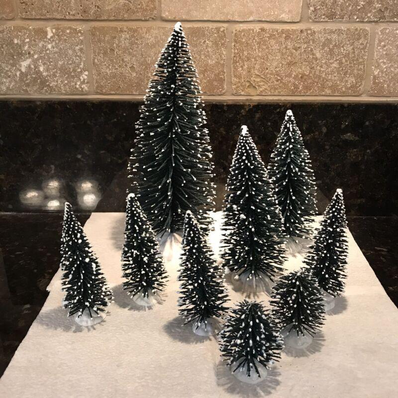 """9 Lemax Green Miniature Bottle Brush Christmas Trees flocked 9, 6, 4 & 2"""""""