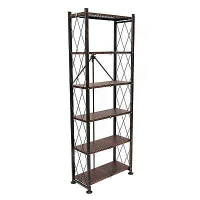 Origami 6 Tier Classic Stamped Steel Bookcase Organizer Storage Rack, Bronze