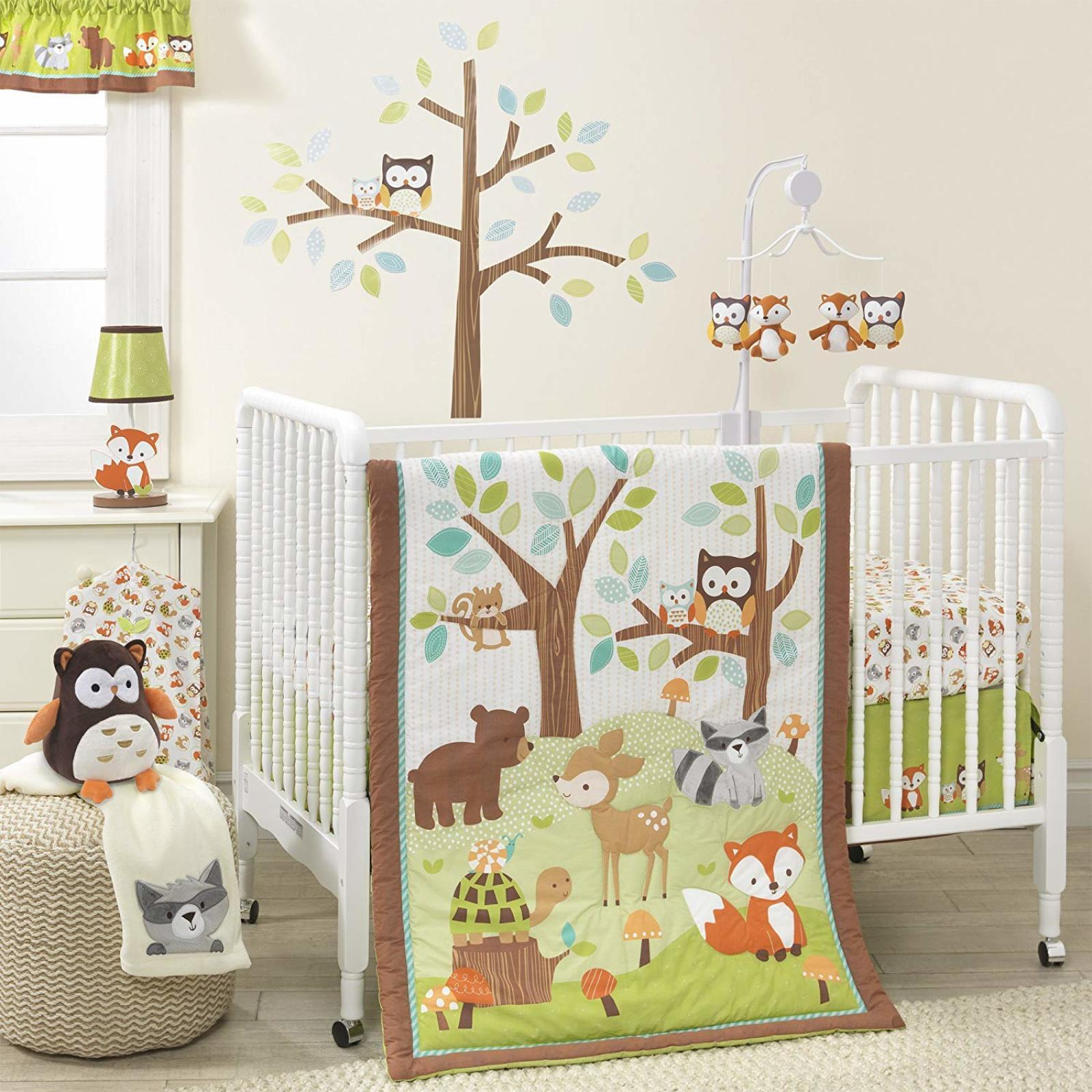 Details About Forest 3 Piece Nursery Bedding Set Animal Baby Crib Bedding  Set Boy Girl Bedroom