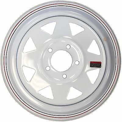 15'' White Spoke Trailer Wheel 5x4.75 Chevy Car Bolt Pattern