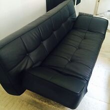 Black leather sofa bed Potts Point Inner Sydney Preview