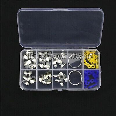 New 100pcs Dental Matrix Sectional Contoured Metal Blue Yellow Rubber Wedges