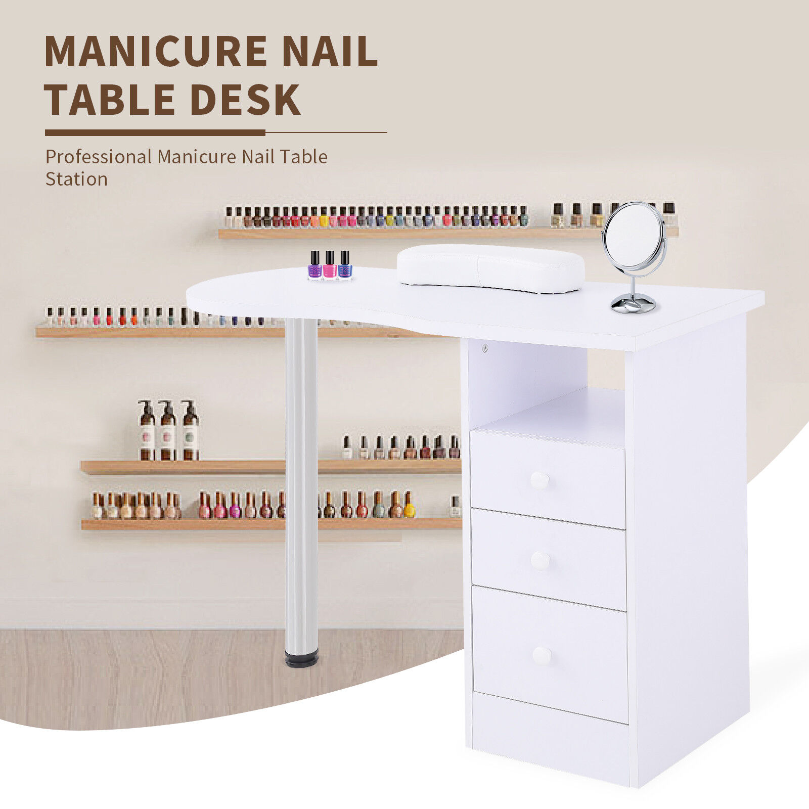 Manicure Nail Table Station Desk Spa Beauty Salon Equipment W Drawers