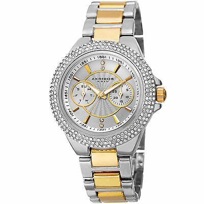 New Women's Akribos XXIV AK789TTG Dazzling Crystal Multifunction Two-tone Watch