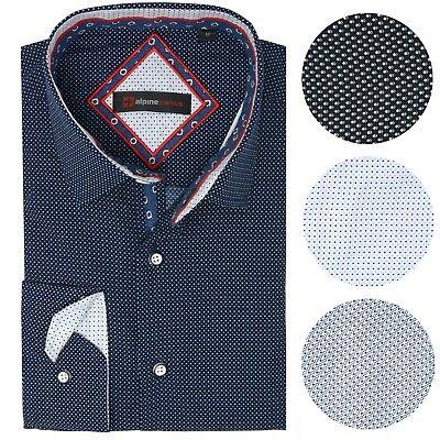 (Alpine Swiss Wayne Men's Long Sleeve Button Down Dress Shirt Button Front Shirt)
