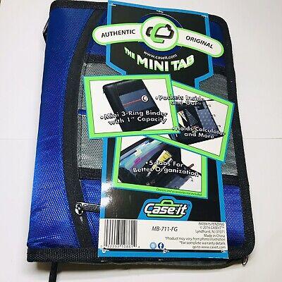 Case-it The Mini Tab 3-ring Binder 1 Capacity Pockets 5-tab Zip Closure- Blue