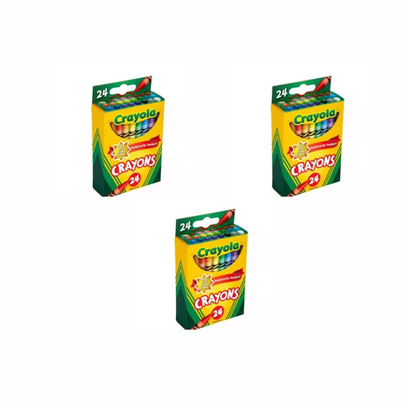 NEW IN BOX Crayola 24 ct. Non-toxic Crayons (Made with Solar Power)  3 Packs