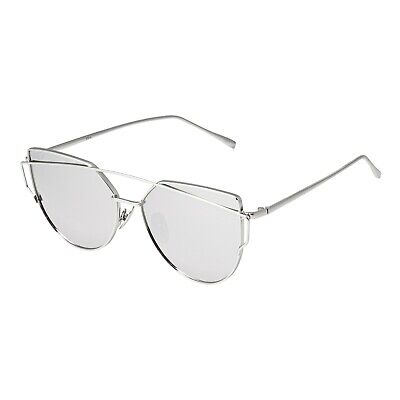 Silver Mirrored Womens Oversized Cats Eye Style Designer Sunglasses UV400 (Style Eyes Sunglasses Uk)