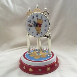 Disney Winnie the Pooh Anniversary Watch Desk Clock Porcelain Base Dial -IOB