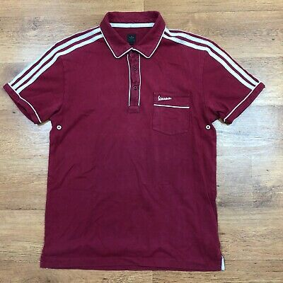 Adidas Originals Vespa Polo Shirt Rockabilly Rare Red Large