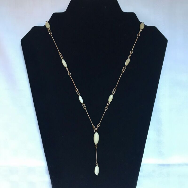 Antique Art Deco Gilt Wired Mother of Pearl Beaded Pendant Necklace