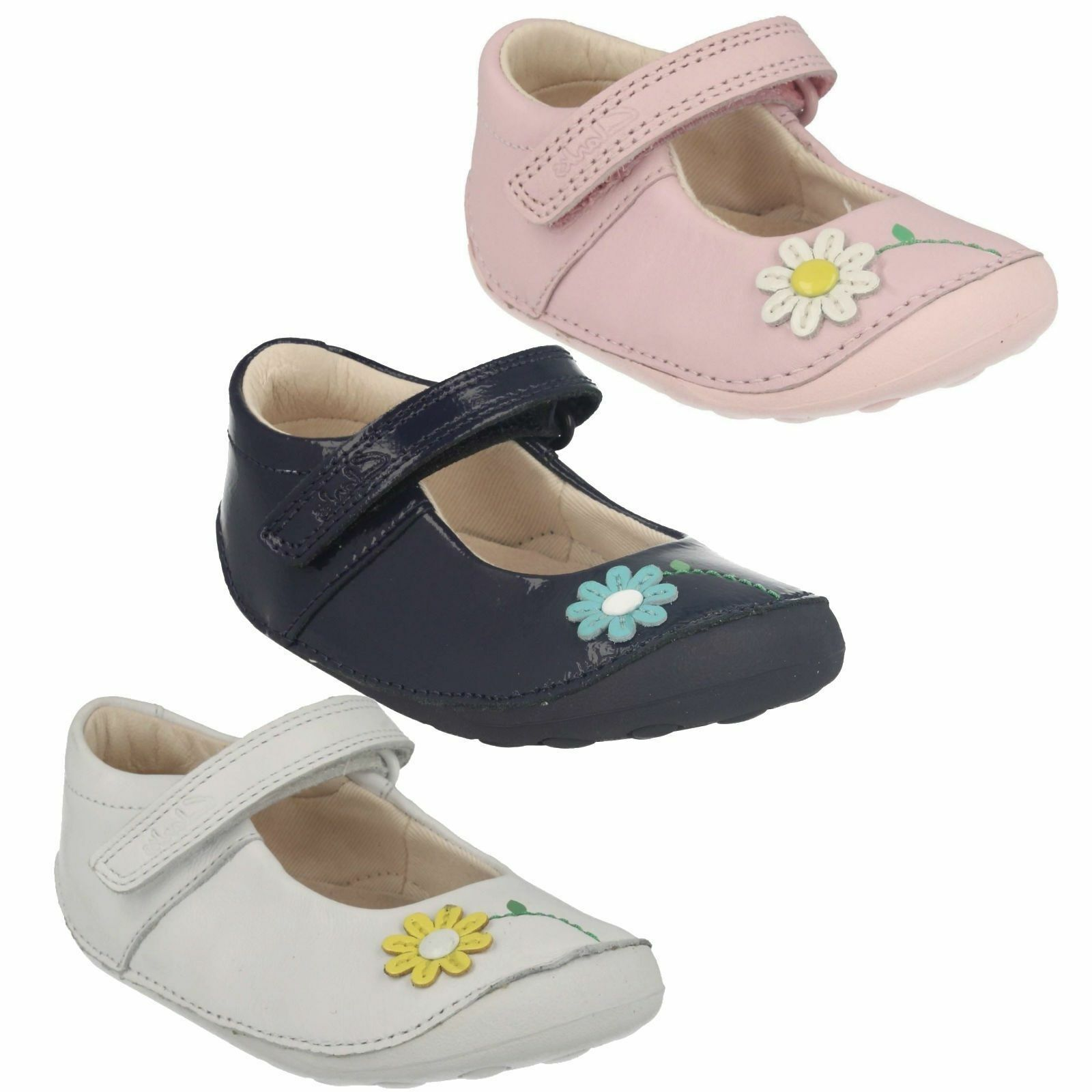 GIRLS TODDLER CLARKS LITTLE JAM HOOK & LOOP CASUAL KIDS LEATHER FIRST SHOES SIZE