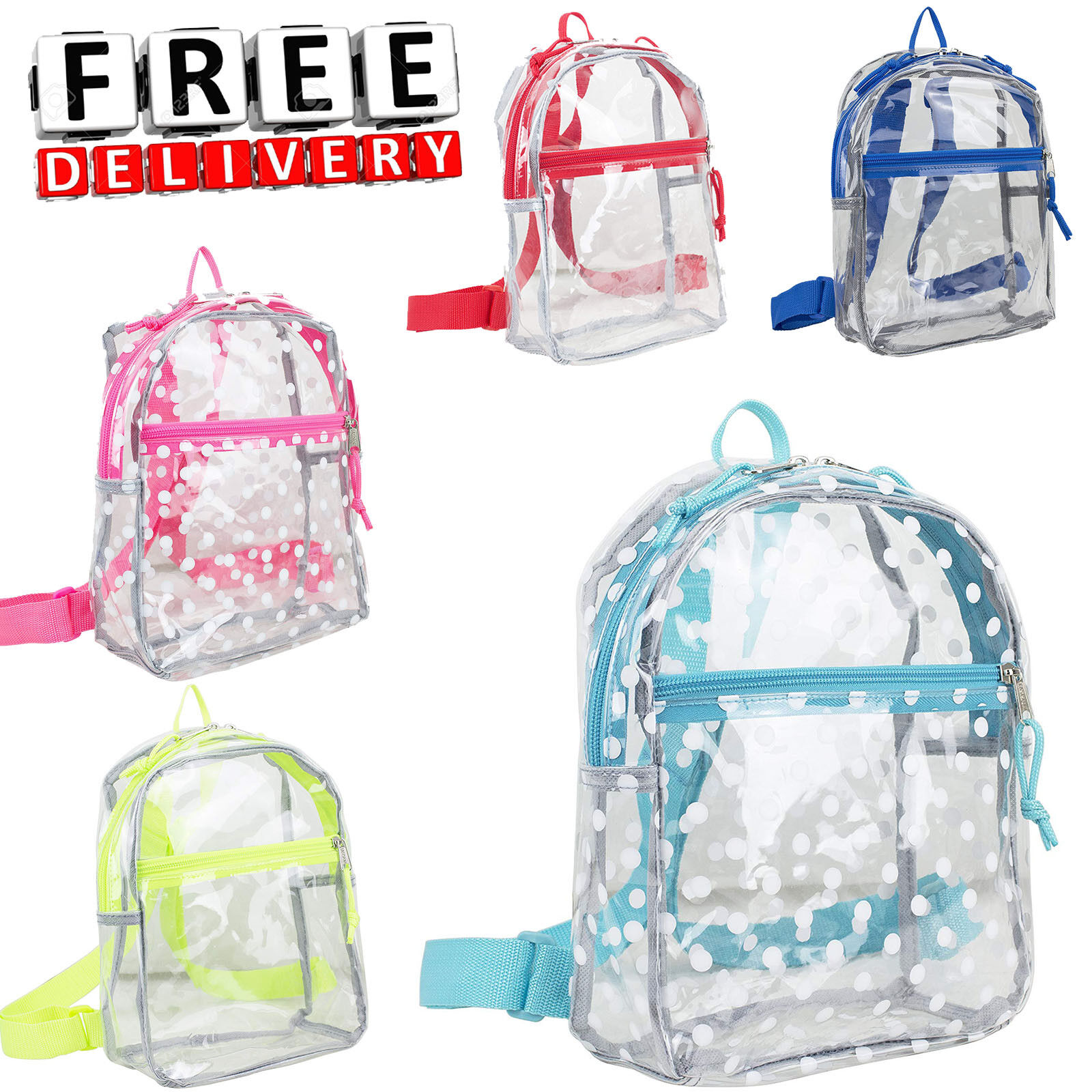 Clear Backpack Transparent Travel Book Daypack Plastic Kid B