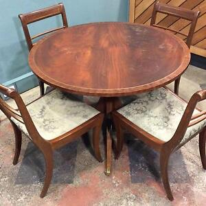 Vintage round dining table with brass inlay Carlton Melbourne City Preview