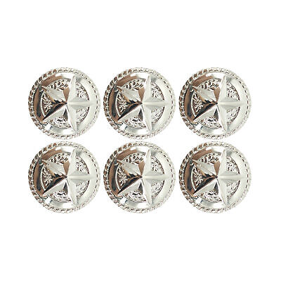 LOT OF 6 CONCHOS ROUND ROPE EDGE STAR BS 9156 ANTIQUE SILVER ENGRAVED 4 SIZES