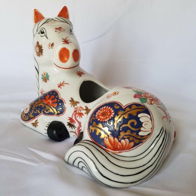 Antique Vintage Asian Porcelain Horse Planter White Red Blue Gold Floral Scroll