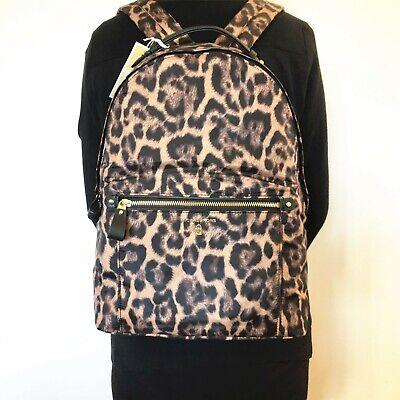 NWT Michael Michael Kors Nylon Kelsey Butterscotch Multi Leopard Large Backpack