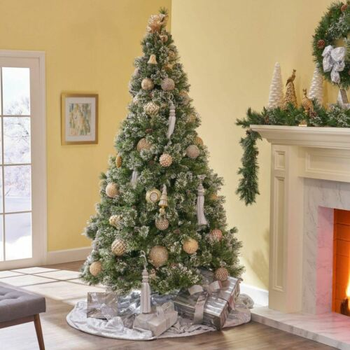 9-foot Mixed Spruce Hinged Artificial Christmas Tree with Snow and Glitter Branc Christmas Trees