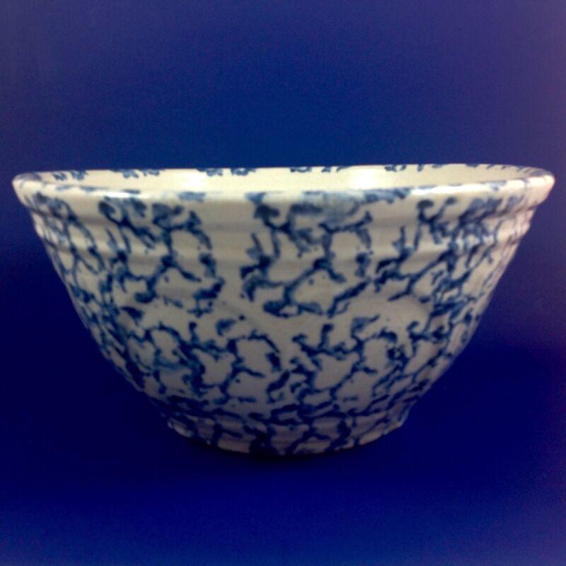 """Antique Blue And White Paneled Spongeware Bowl Large 12"""""""