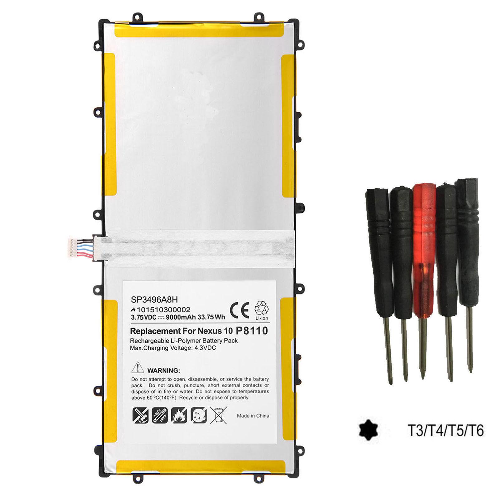 Battery Sp3496a8h For Samsung Google Nexus 10 Tablet Gt-p...