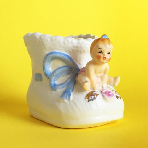 Planter VTG Matte White Ceramic Pottery Baby on Baby Bootie Blue Ribbon CLEAN