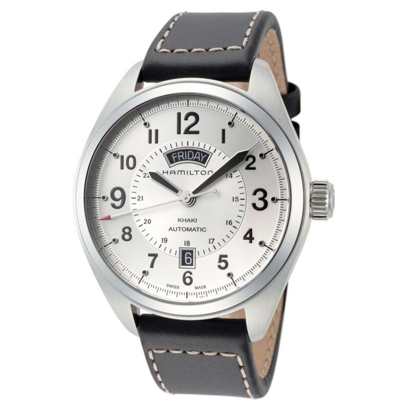 Hamilton-Men-Khaki-Field-H70505753-42mm-Silver-Dial-Leather-Automatic-Watch