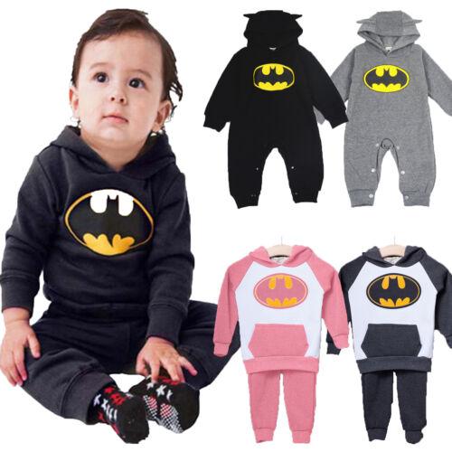 Kinder Baby Outfits Mädchen Jungen Batman Hoodie Trainingsanzug Romper Bodysuit