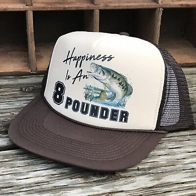 7904e424e72 Happiness Is An 8 Pounder Bass Fishing Derby Vintage 80 s Trucker Hat  Snapback