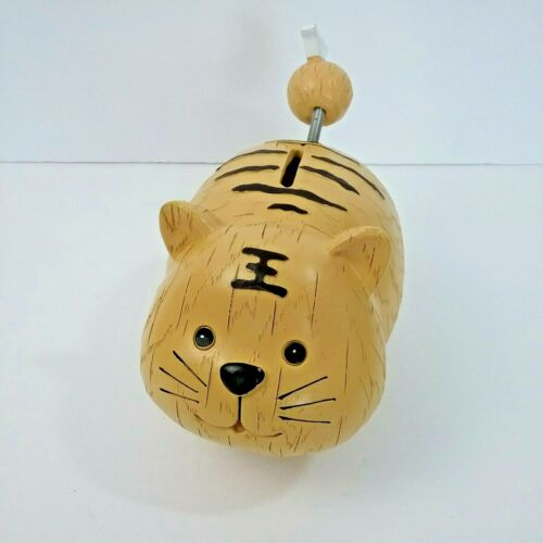Cat Coin Bank with Spring Tail 5 Inch Tall  Fat Yellow  Piggy Bank Coins Bills