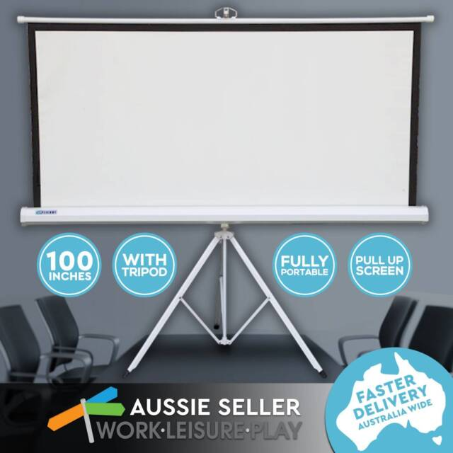 """100"""" Inch Portable Tripod Projector Screen HD Projection ..."""