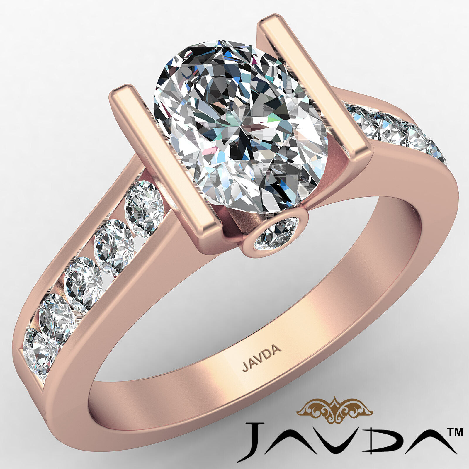 Oval Diamond Engagement Bezel Setting Ring GIA, E Color & SI2 clarity 1.4 ctw. 2