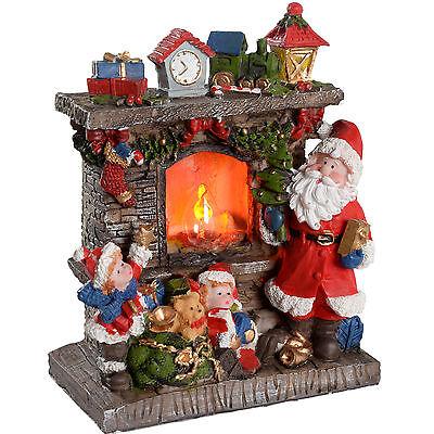 Pre-Lit Santa Flickering Fireplace Scene Christmas Decoration - 21cm
