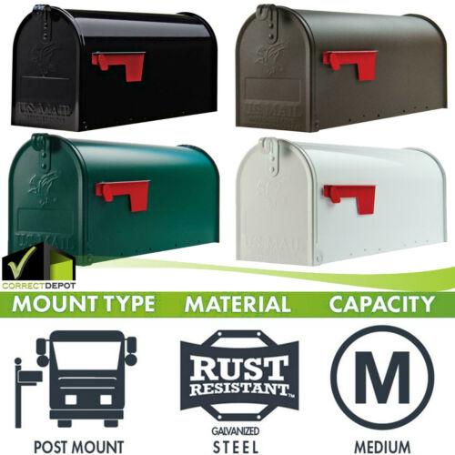Post Mount Mailbox Medium Heavy Duty Galvanized Steel Storage Gold Lettering Box