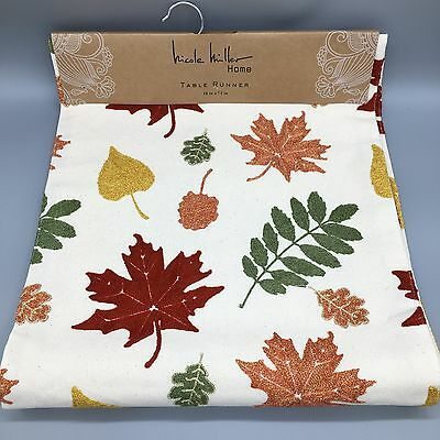 Nicole Miller Table Runner Embroidered Fall Leaves Gold Red Orange Thanksgiving