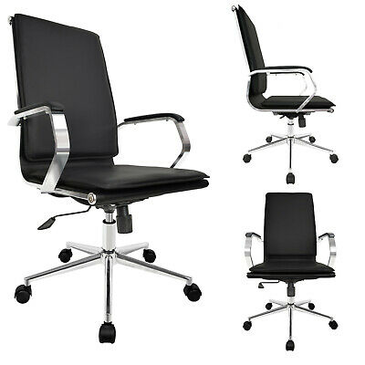 High Back Leather Adjustable Cushion Office Chair Computer Desk Seat Black