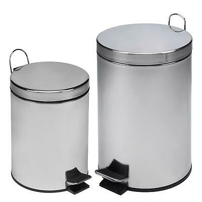 Stainless Steel Pedal Bin Rubbish Waste Recycling Dustbin Home Bathroom 12L 3L ()