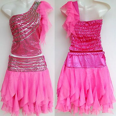 Mädchen Damen Cheerleader-Kostüm/Kleid Fasching/Cosplay Dress Rosa Gr. 98-188