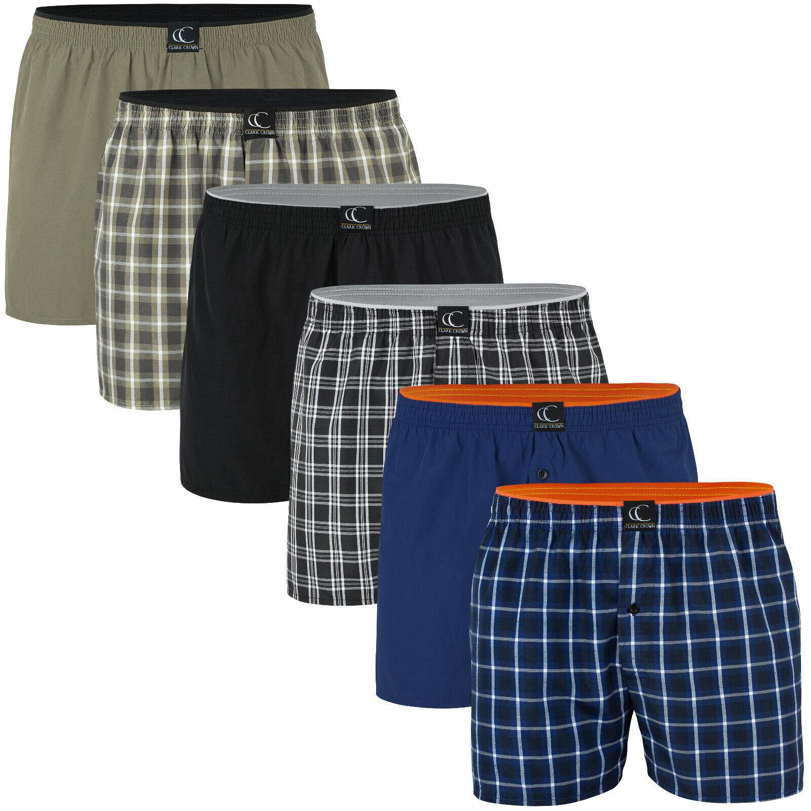 6er Pack Boxershorts American Style Webboxer Herren Boxer Shorts Kariert Uni