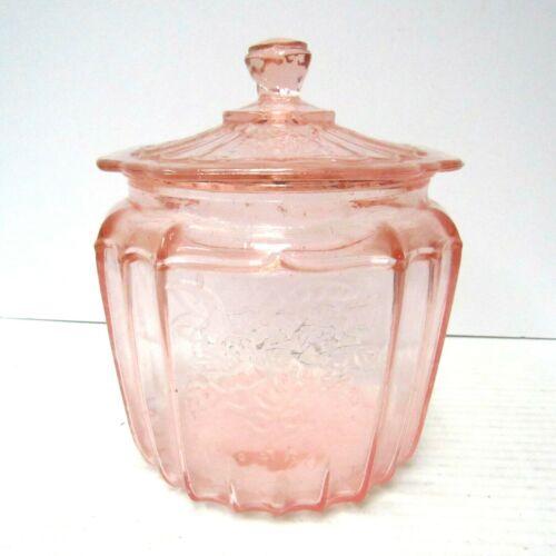 Vintage Pink Depression Glass Cookie Jar w/ Lid - Hocking Mayfair Open Rose