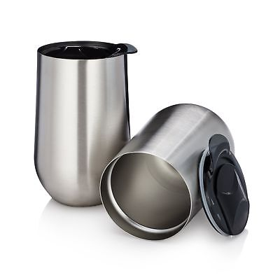 Set of 2 Stainless Steel Stemless Wine Glasses