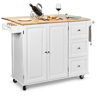 Drop-Leaf Kitchen Island Trolley Cart Wood Storage Cabinet w/ Spice Rack White